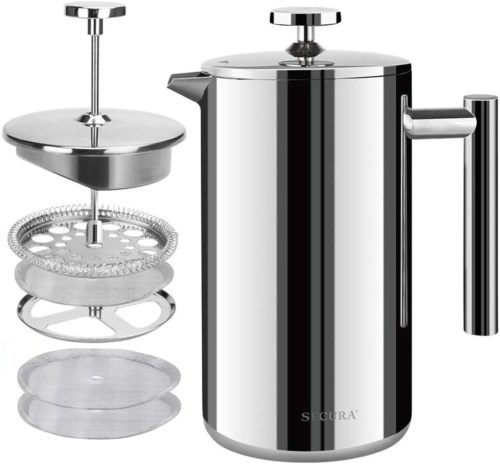 4. Secura French Press Stainless Steel Coffee Maker