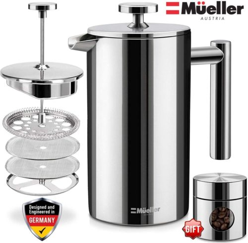 5. Mueller French Press Stainless Steel Multi-Screen System Coffee Maker