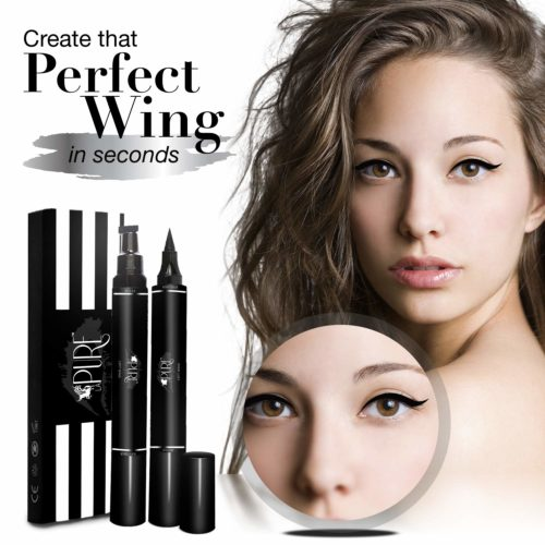 6.LA PURE Waterproof Eyeliner Stamp - 2 Wingliner Black Make Up Pens, Vamp Style Wing, Smudgeproof & Sweatproof