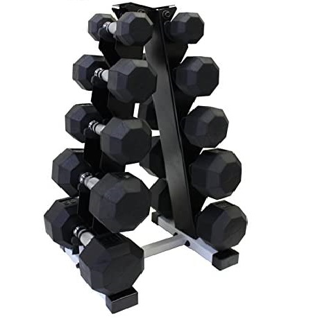 Best Classic Style: Ader Sporting Goods Octagon Rubber Dumbbell Sets with Rack