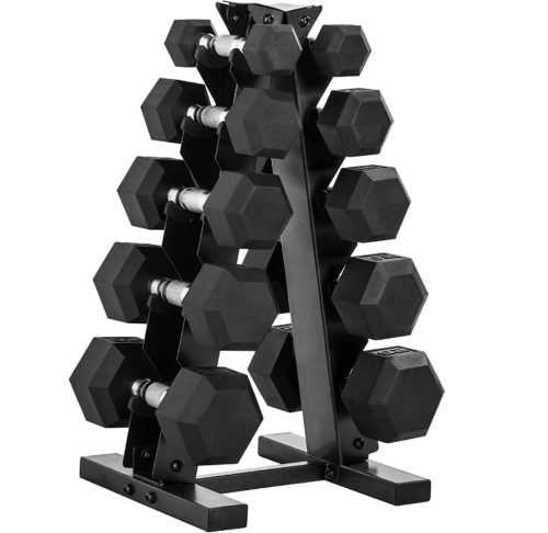 Best Durable: WF Athletic Hex and Neoprene Dumbbell Sets with Rack