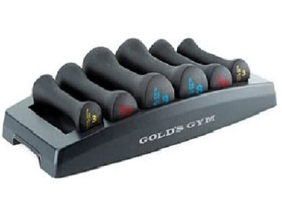 Best Lightweight: Golds Gym Rubber Coated and Neoprene Dumbbells Weight Sets with Rack