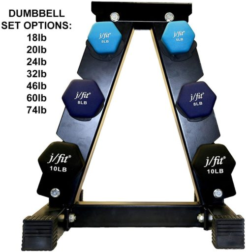 Best Runner: J/fit Double Neoprene Dumbbell Sets with Rack, Training Hex Dumbbells Set with Stand