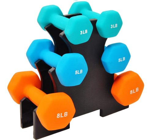 Best Suit for Girl: Sporzon Neoprene Dumbbell Weight Sets with Stand, Hex Dumbbell Sets with Rack