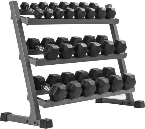 Best for Premium: XMark Rubber Coated Hex Dumbbell Sets with Rack 50*5 Weight Sets