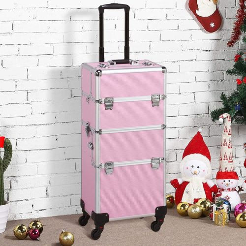 Yaheetech Rolling Makeup Case Best Makeup Train Case Pink Make Up Artists Cases