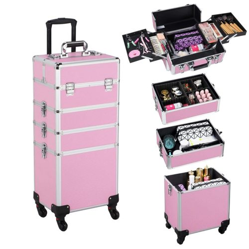 Yaheetech Rolling Pink Makeup Case Aluminum Cosmetic Best Professional Makeup Kits