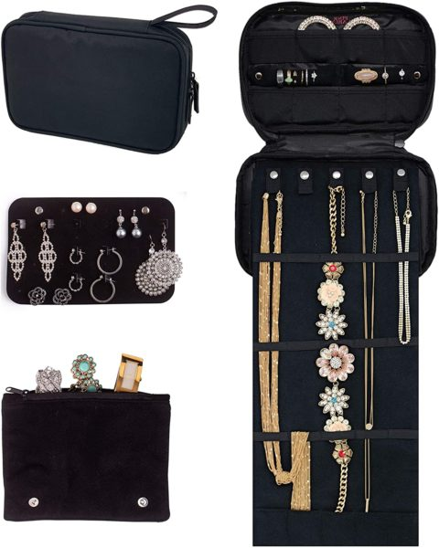 10. Pink Larus Travel Jewelry Organizer. Tangle-Free Necklace with Roll Out Mat
