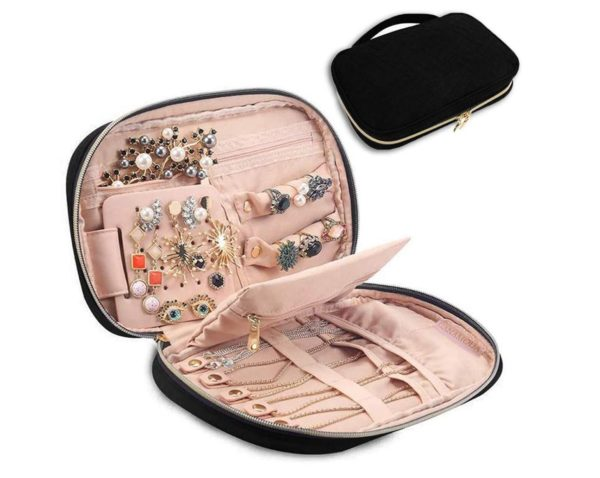 11. GANAMODA Jewelry Travel Organizer, Soft Padded Traveling Jewelry Bag Case