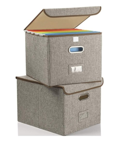 12. Collapsible File Box with Lid [2-Pack] Decorative Documents Storage Organizer