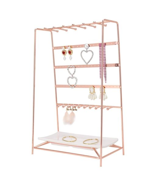 13. MORIGEM Jewelry Organizer, 5 Tier Jewelry Stand, Decorative Jewelry Holder Display with White Tray for Necklaces