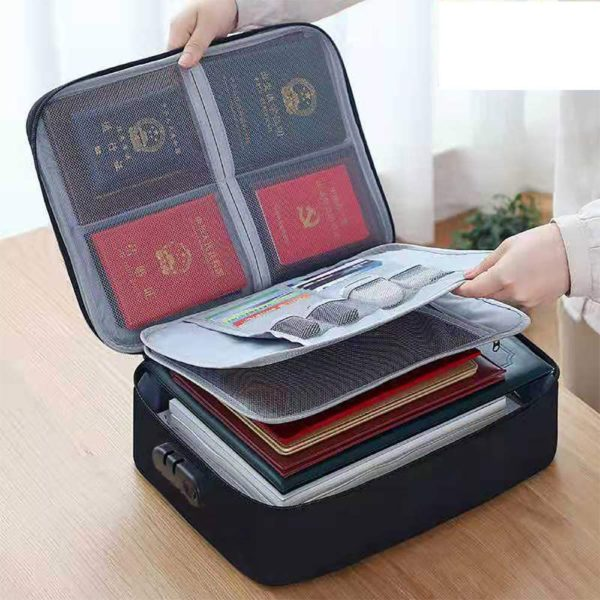 14. Oxford Document Bag with Safe Code Lock,Storage Pouch Credential Bag Diploma Storage Important Document and File Pocket
