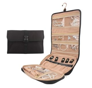 14. Travel Jewelry Organizer Roll with Zipper Pockets Hanging Jewellery Roll Bag Case for Rings