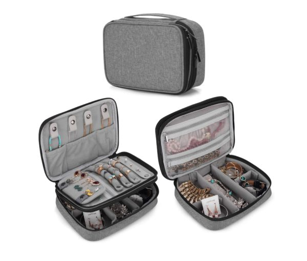 3. Teamoy Travel Jewelry Organizer Case, Storage Bag Holder for Necklace, Earrings, Rings, Watch and More, High Capacity and Compact
