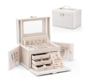 3. Vlando Faux Leather Jewelry Box Organizer, 6 Colors Available