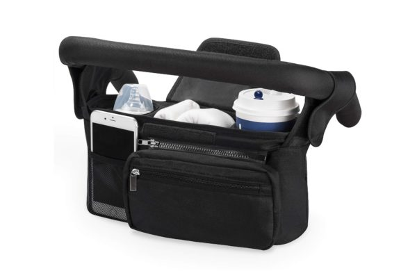 4. Universal Stroller Organizer with Insulated Cup Holder by Momcozy
