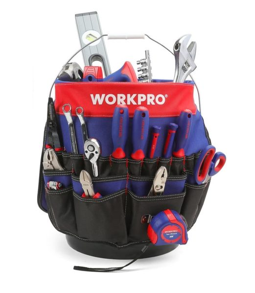 4. WORKPRO Bucket Tool Organizer with 51 Pockets Fits