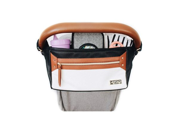 5. Itzy Ritzy Adjustable Stroller Caddy – Stroller Organizer Featuring Two Built-in Pockets
