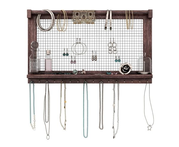 5. Rustic Jewelry Organizer – Wall Mounted Jewelry Holder with Removable Bracelet Rod