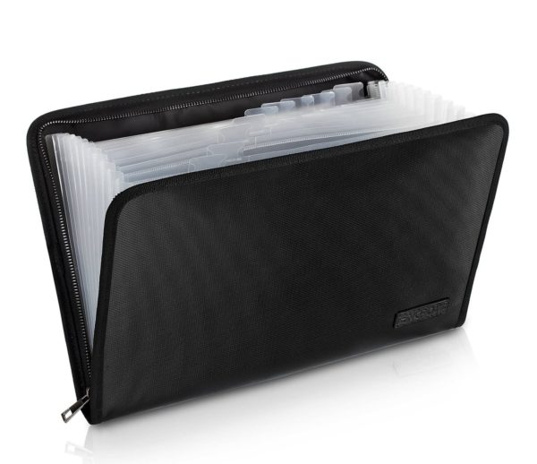 5. ireproof File Folder Fireproof Fire and Water Resistant Money Document Bag with A4 Size 13 Pockets Zipper
