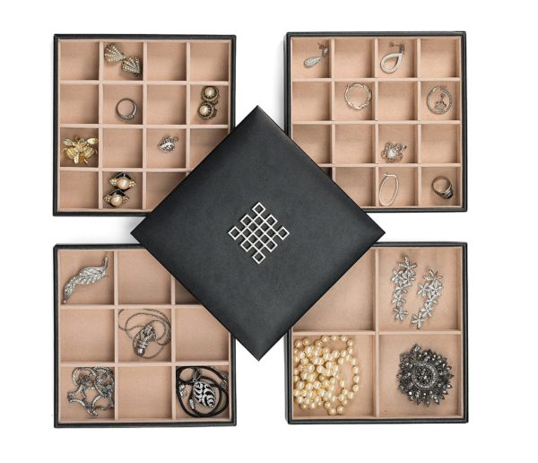 6. Glenor Co Earring Organizer Tray - 4 Stackable Trays with Lid -45 Slot Classic Jewelry Storage Display Case