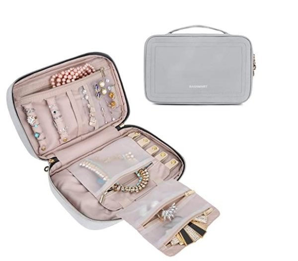 7. BAGSMART Travel Jewelry Storage Cases Jewelry Organizer Bag for Necklace, Earrings, Rings, Bracelet