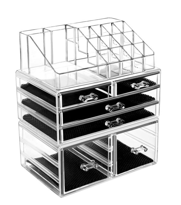 7. HBlife Makeup Organizer 3 Pieces Acrylic Cosmetic Storage Drawers and Jewelry Display Box