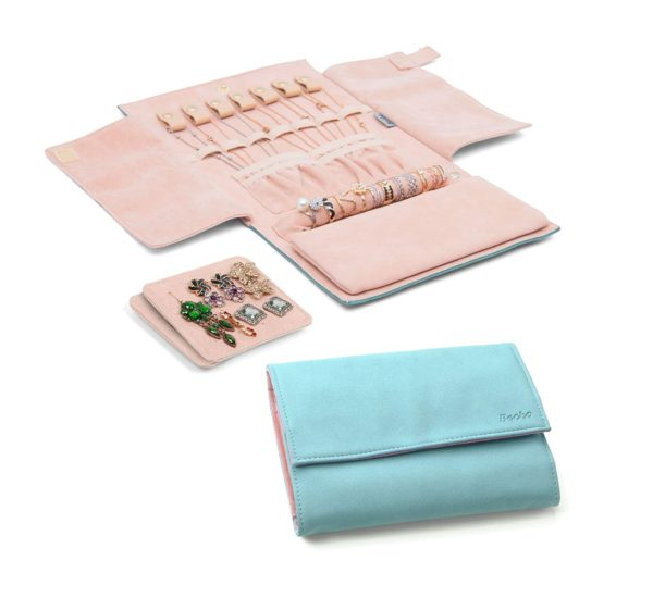 8. Becko Jewelry Organizer Roll Travel Jewel Bag case for Multiple Necklaces, Rings, Bracelets