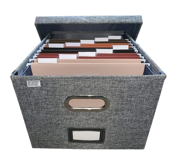 8. File Box Storage Organizer with file folders - Letter sized brackets for Office File Storage Box