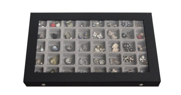 8. JackCubeDesign 40 Compartments Jewelry Display Tray Showcase Organizer Storage Box Slots Holder