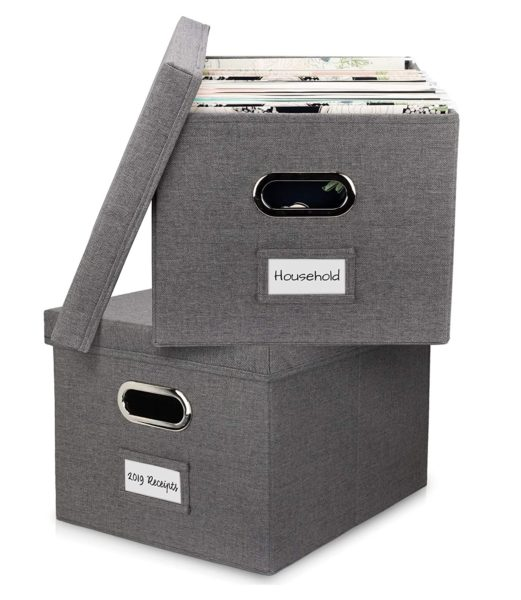 9. Beautiful File Organizer Box Set of 2 - Collapsible Linen Filing Cabinet for Easy File Folder Storage