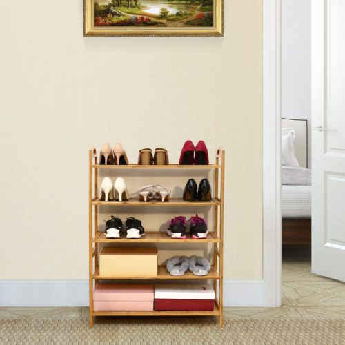 1. Homefa Bamboo Shoe Rack Organizer - Free Standing Tall Shoe Rack Shelves