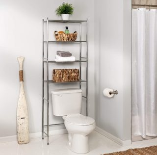 1. Honey-Can-Do Over The Toilet Storage with Chrome Shelving Unit for Space Saver - Top Rated Bathroom Shelf Organization Ideas