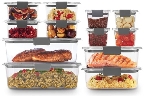 1. Rubbermaid Brilliance Refrigerator Storage Clear Proof Food Container