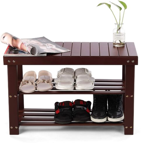 10. HYNAWIN Bamboo Shoe Rack Bench Organizer with Seat Holder