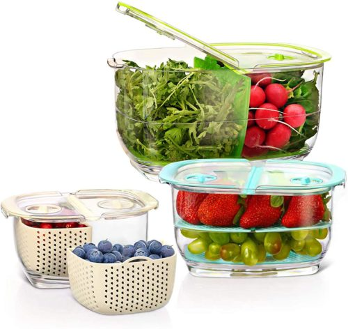 10.LUXEAR Fresh Vegetable Fruit Refrigerator Storage Containers