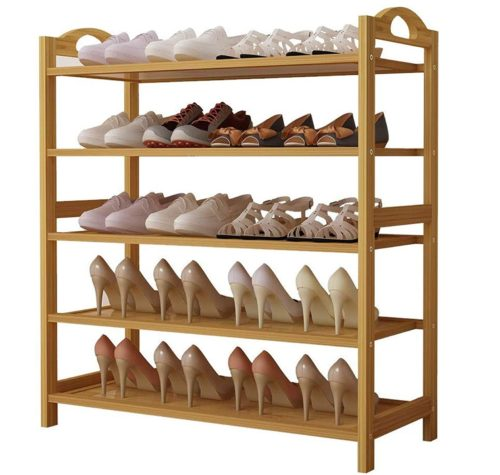 11. UDEAR Bamboo Shoe Rack Organizer with 5 Tier Shelf