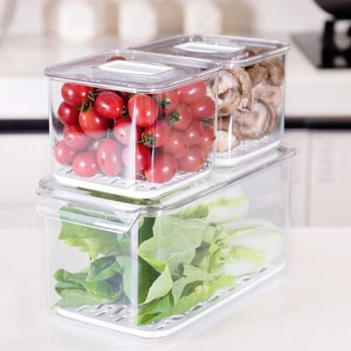 12. SANNO Food Refrigerator Storage Containers Organizer with Removable Drain Tray
