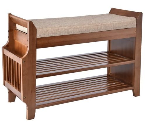 12. YUSING Bamboo Shoe Rack Bench with Removable Seat Cushion and Hidden Drawer