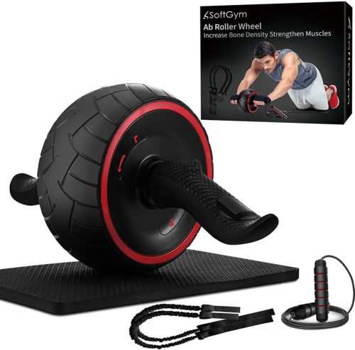 13. SoftGym Ab Roller Workout with Knee Mat and Rope Band for Men and Women