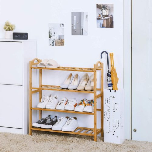 13. Songmics Natural Bamboo Shoe Rack Organizer Ideas with 4 Tier Rack