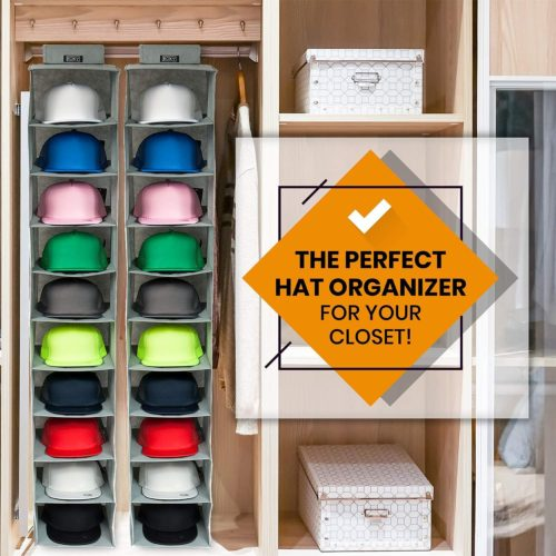 2. Boxy Easy Concepts Hat Organizer Rack with 10 Shelf