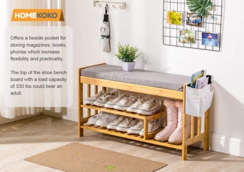 3. HOMEKOKO Bamboo Shoe Rack Bench with Seat Cushion