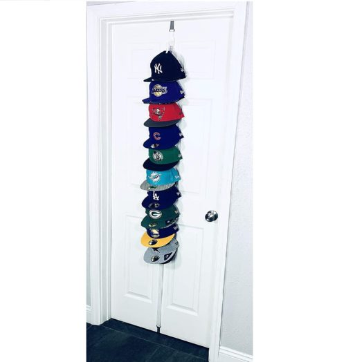 4. Hat-Headz Shape Style Clip Hanger Hat Organizer - Baseball Cap Storage Wall and Door Closet Organizer