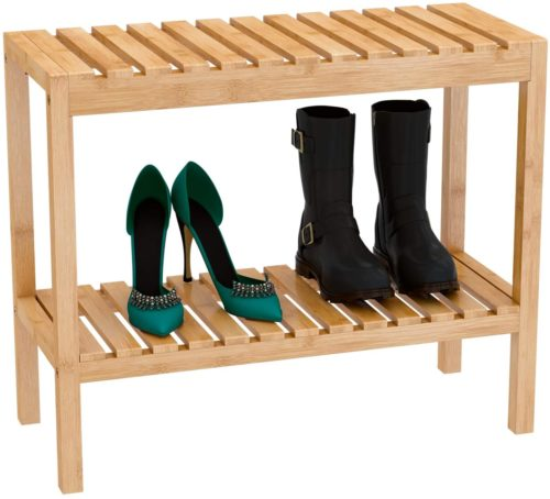 4. Zri Bamboo Shoe Rack Bench Organizer Storage Shelf - Sturdy Narrow Shoe Rack and Stackable Shoe Rack