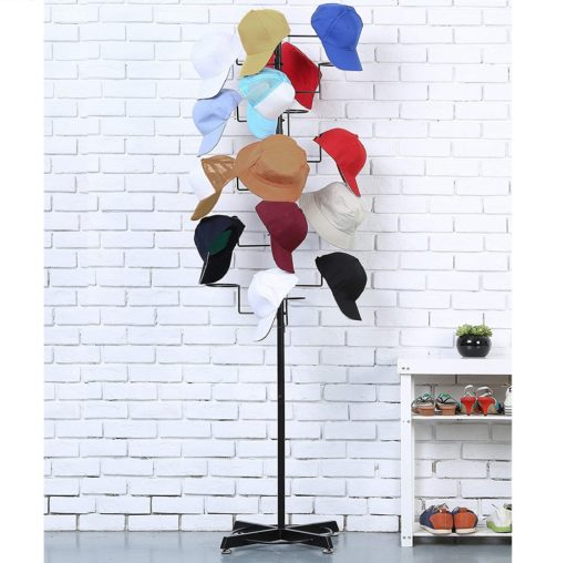 6. MyGift Freestanding Modern Hat Organizer with Hook - Retail Stand Hat Storage Display