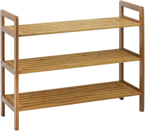 6. Oceanstar Natural Bamboo Shoe Rack