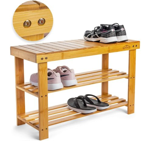 7. Homemaid Living Bamboo Shoe Rack Bench Organizer