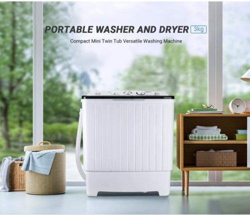 08. TACKLIFE Portable Washing Machine with Twin Tub and Drain Hose - Compact Portable Washer and Dryer
