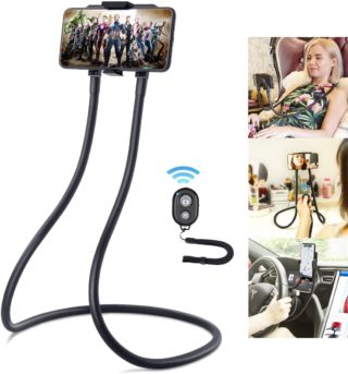 1. B Land Goose Neck Phone Holder Mount with Remote Photo and Video Control - Very Good Gooseneck Phone Holder